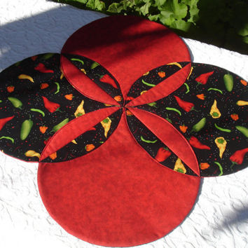 Barbeque Table Runner Quilt - Table Topper Centerpiece - Red, Black, Yellow - Cinco de Mayo, Barbeque Quilt