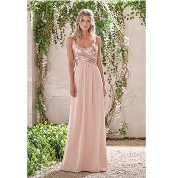 Robe De Soiree Custom Made Rose Gold Sequins A-Line Chiffon Bridesmaid Dresses Vestido De Festa Ruffles Backless Prom Party Gown