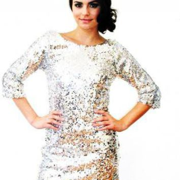 Disco Diva 3/4 Sleeve Sequin V Back Dress