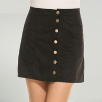 Meaneor Mini Skirt Women New Fashion Sexy Casual Faux Suedettte Button Closure A-line Slim Brand Feminino Office Skirt 3 Colors
