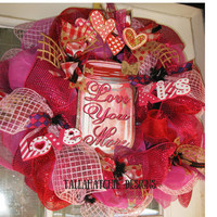 Valentine's Day Wreath*Love Wreath*Valentine Wreath In Pink And Red*Love You More Wreath