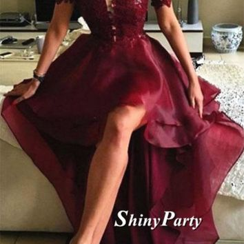 Sexy High Low Organza Maroon Lace Prom Dress, High Low Formal Dress, Maroon Lace Graduation Dress, Maroon High Low Homecoming Dress