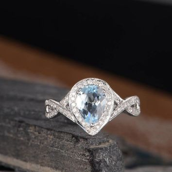 Pear Shaped Engagement Ring Infinity Split Shank Band Unique Halo Diamond Ring November Birthstone