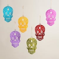 Metallic Los Muertos Skull  Ornaments, Set of 6 - World Market