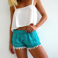 Pom Pom Shorts - Emerald Green and White Dot Pattern - Gym/Beach Shorts