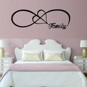 Family Love Infinite Symbol Shape Sign Wall Sticker For Living Room Bedroom Decoration Accessories Wall Art Decals Home Decor