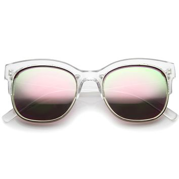 Translucent Colorful Half Frame Mirror Lens Sunglasses A249