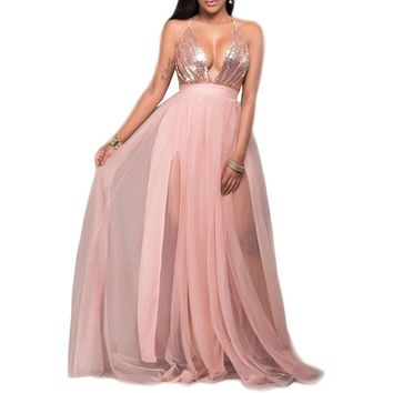 European And American Sexy Spaghetti Strap Deep V-Neck Backless Maxi Chiffon Gauze Sequin Dress Split Evening Party KLY0169