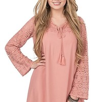 Flying Tomato Women's Dusty Pink with Lace Sleeves and Yokes Long Sleeve Dress