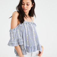 AE COLD SHOULDER LACE INSET TOP, Light Blue