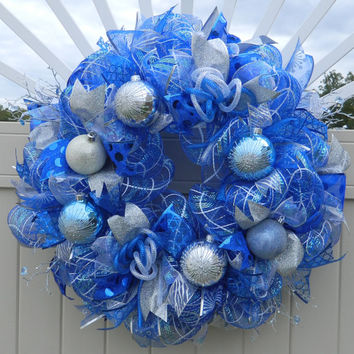 blue silver white christmas wreath blue and white deco mesh wre