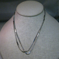 "Vintage Avon 30"" Silver Tone Curb & Bar Link Necklace, 1970-1980's, classic"