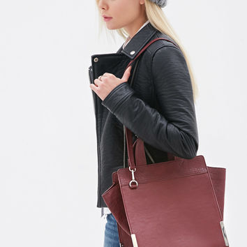 Plated Faux Leather Tote