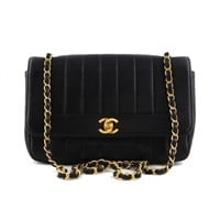 Vintage Chanel Black Quilted Lambskin Gold Chain Classic Flap Bag