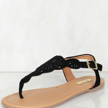 Cut Out Thong Sandal Black