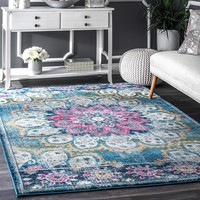 9937 Turquoise Medallion Distressed Contemporary Area Rugs