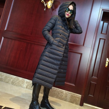 high quality Europe Style winter women belt coats slim x-long thin light duck down jacket with hooded female parka DX349