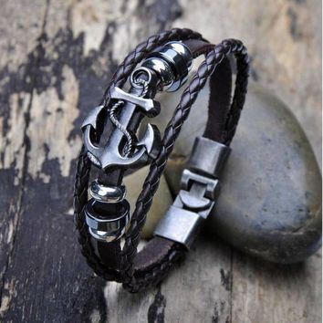 Bling-world  Vintage Men's Metal Anchor Steel Studded Surfer Leather Bangle Cuff Bracelet je7