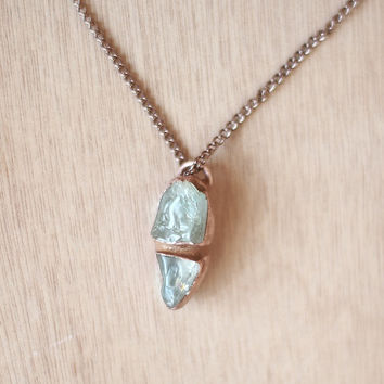 Raw Aquamarine Necklace Blue Aquamarine Pendant Rough Gemstone Necklace Raw Stone Pendant Raw Mineral Electroformed Pendant Copper Necklace