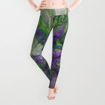 Leggings Wearable Art - Women, Pants, Clothing, Yoga, Leggings, Capri, Hand Sewn- XS-S-M-L-XL, Art, Designer, Digital, Abstract, Purple