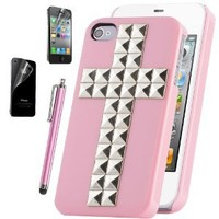 Pandamimi ULAK Silver Cross Pyramid Punk Studs Nails Pink Case Cover Skin For iPhone 4 4S with free Screen Protector and Stylus