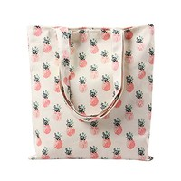 Women's Tropical Pineapple Patern Canvas Tote Shopping Bag Beige