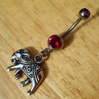 Belly Button ring - Elephant Belly Ring - Elephant Charm Belly Button Ring
