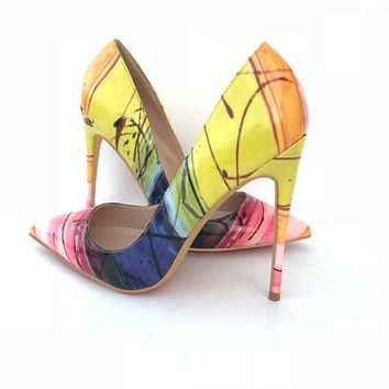 Yellow art mix color pointed toe highs
