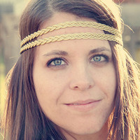 The Cleopatra Headband, Braided Bohemian Style, Golden double strand, Exotic, Hippie, Boho