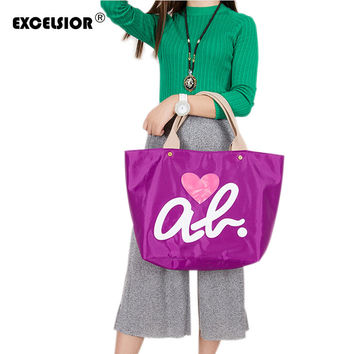 EXCELSIOR New Brand Hear Love Pattern Tote Handbag Waterproof Shopping Bag Women's Hand Bag Girls Casual Purse Oxford Nylon Bags