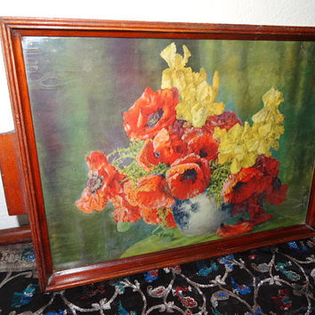 Wood Tray with Flower Print Poppies Iris