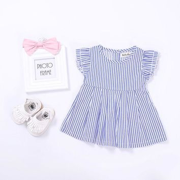 Fashion Toddler Infant Baby Kids Girls Striped Princess Dress Tops Summer Short Sleeve Top Shirt Casual Costume 0-24M