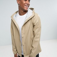 Herschel Forecast Hooded Coach Jacket Waterproof in Beige at asos.com