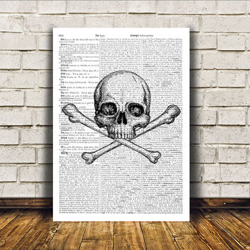 Human skull poster Anatomy art Modern decor Dictionary print RTA282