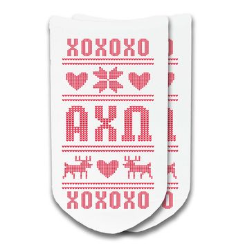 Alpha Chi Omega Ugly Christmas Sweater No Show Socks - 1 pair