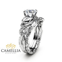 Nature Inspired Moissanite Engagement Ring Set 14K White Gold Engagement Rings Branch and Leaf Moissanite Rings