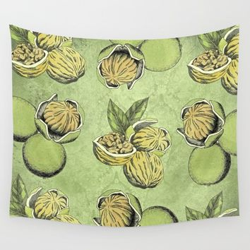 Walnuts Faded Lime Color Wall Tapestry by inspiredimages