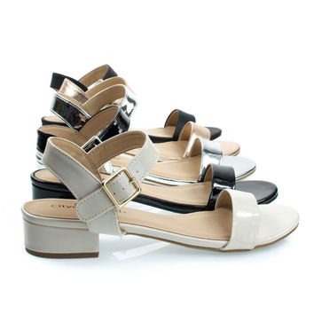 Refine Bone Beige By City Classified, Low Chunky Block Heel Sandal, Women's Open Toe Summer Shoes
