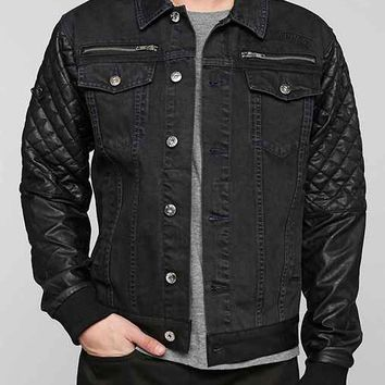 Black Apple Bushwick Faux-Leather-Sleeve Denim Jacket - Black