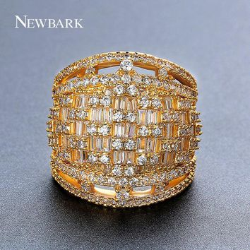 NEWBARK Multi Row Lines Clear Crystal Ring Jewelry White Gold Color Pave Full Rhinestone Fashion Queen For Wedding Women Rings