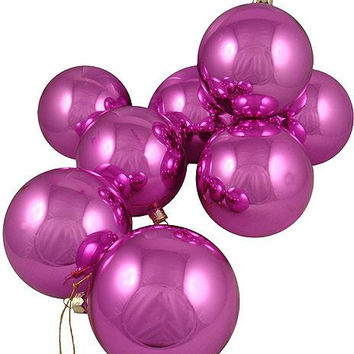 16 Christmas Ornaments - Pink Glass Ball