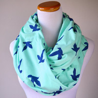 Mint Blue Bird infinity Scarf on soft Jersey knit-Ready to ship