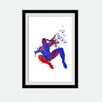 Spiderman poster, superhero print, spider man archival print, watercolor art, home decoration, spider man silhouette, abstract print,  W732