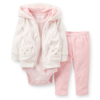 3-Piece Microfleece Hooded Cardigan Set