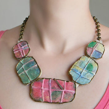 Eco Friendly Satement Necklace, Paper Necklace Bib, Organic Jewelry Necklace Hand Painted Necklace Choker, Mosaic Necklace Paper Mosaic