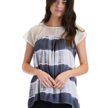 SL4074 Grey Short Sleeve Top With Crochet Lace Yoke And Tie Dye Stripes