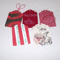 Butterflies In The Attic: 5 Christmas Gift Tags - Upcycled Books - Hand Stamped DieCut - Gift Wrap REFNO.11.13.24