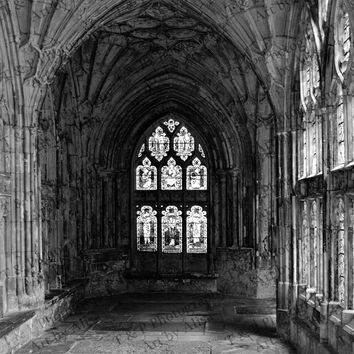 BLACK and WHITE Photography, Cathedral 8 x 10 photo, church in England, spiritual picture, stained glass architecture, 7th century, ENGLARGE