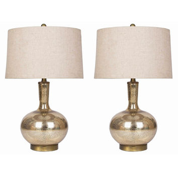 Abbyson Gold Mercury Glass Table Lamp (Set of 2)