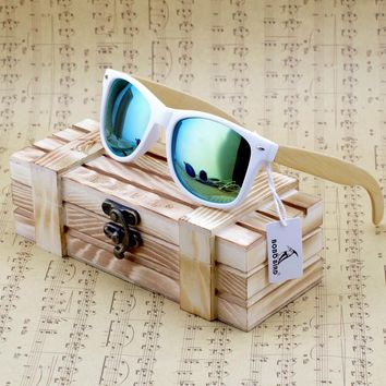 BOBO BIRD Bamboo Sunglasses Women Polarized Sun Glasses Man Mirror gafas de sol with Wooden Gift Box CG007 Dropshipping OEM
